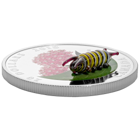 2018 Canadian $20 Little Creatures: Monarch Caterpillar (Venetian Glass) - 1 oz Fine Silver Coin