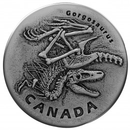 2018 Canadian $20 Ancient Canada: Fossilized Gorgosaurus Fine Silver Coin with Floating Frame & Mount