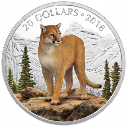 2018 Canada Fine Silver $20 Coin - Majestic Wildlife: Courageous Cougar