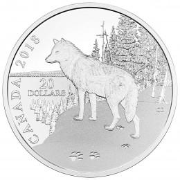 2018 Canada Fine Silver $20 Coin - Nature's Impressions: Wolf