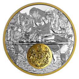 2018 (1918-) Canadian $20 First World War Allies: Great Britain 1 oz Fine Silver & Gold-plated Coin