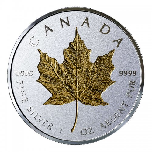 2019 Canadian $20 40th Anniversary Gold Maple Leaf GML 1 oz Fine Silver & Gold-plated Coin