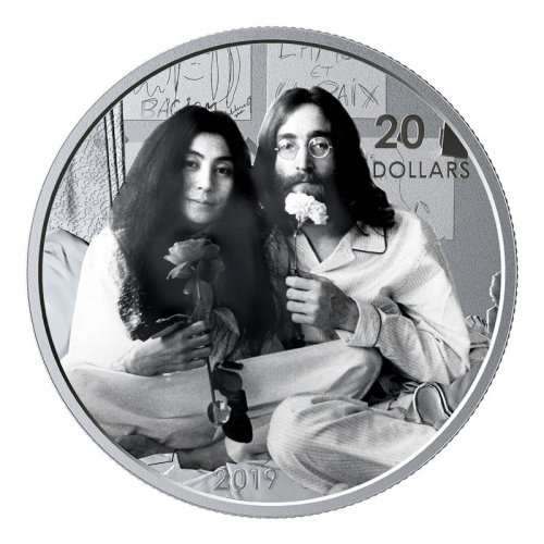 2019 Canadian $20 Give Peace A Chance / John Lennon Yoko Ono 50th Anniv 1 oz Silver Coin