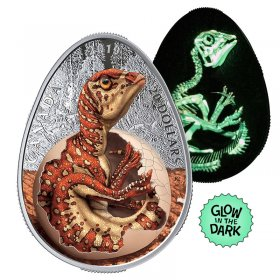 2019 Canadian $20 Hatching Hadrosaur Dinosaur 1 oz Fine Silver Egg-shaped Coloured Coin (Glow-in-the-Dark)