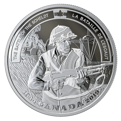 2019 Canadian $20 Second World War Battlefront: The Battle of the Scheldt - 1 oz Fine Silver Coin
