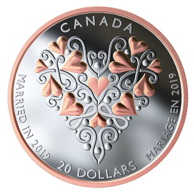 2019 Canadian $20 Best Wishes On Your Wedding Day - 1 oz Fine Silver & Pink Gold-plated Coin