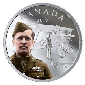 2019 Canadian $20 Billy Bishop - 1 oz Fine Silver Coloured Coin