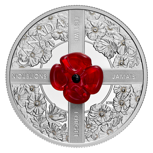 2019 Canadian $20 Lest We Forget - 1 oz Fine Silver & Murano Glass Coin