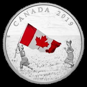 2019 Canadian $20 Canada's National Flag - 1 oz Fine Silver Coloured Coin