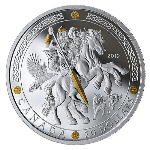 2019 Canadian $20 Norse Gods: Odin - 1 oz Fine Silver & Gold-plated Coin