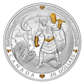 2019 Canadian $20 Norse Gods: Thor - 1 oz Fine Silver & Gold-plated Coin