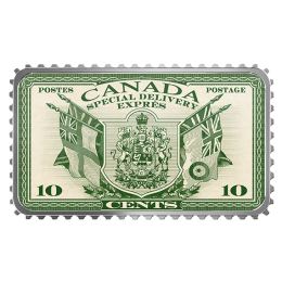 2019 Canadian $20 Canada's Historical Stamps: Coat of Arms and Flags Special Delivery - 1 oz Fine Silver Coloured Coin