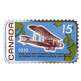 2019 Canadian $20 First Non-Stop Transatlantic Flight 100th Anniv 1 oz Silver Coloured Stamp-shaped Coin