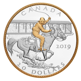 2019 Canadian $20 Victory Stampede - 1 oz Fine Silver & Gold-plated Coin