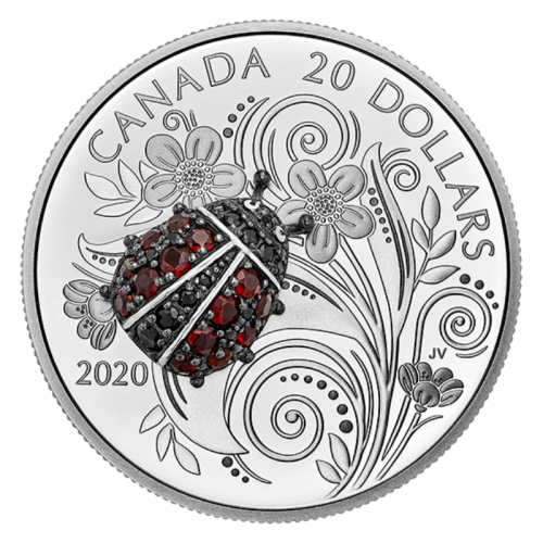 2020 Canadian $20 Bejeweled Bugs: Ladybug - 1 oz Fine Silver Coin