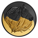 2020 Canadian $20 Black and Gold: The Canadian Horse - 1 oz Fine Silver Gold-plated Coin