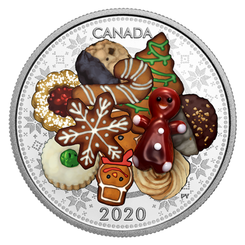 2020 Canadian $20 Murano Holiday Cookies - 1 oz Fine Silver Coloured Coin