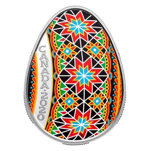 2020 Canadian $20 Traditional Ukrainian Pysanka Egg-shaped Silver Coloured Coin