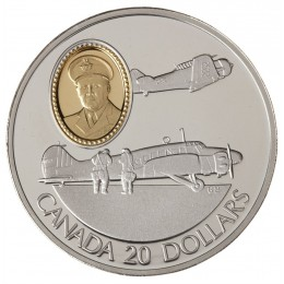 1990 Canada Sterling Silver $20 Coin - Aviation Series: Avro Anson and the North American Harvard (Coin 1 of 10)