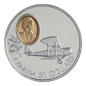 1992 Canadian $20 Aviation Series I: de Havilland Gipsy Moth Sterling Silver Coin (Coin 6 of 10)