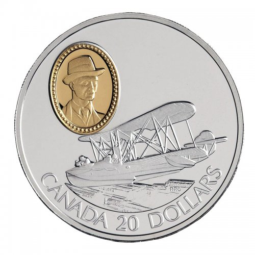 1994 Canadian $20 Aviation Series I: Vickers Vedette Sterling Silver Coin (Coin 10 of 10)