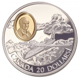 1999 Canada Sterling Silver $20 Coin - Aviation Series: de Havilland DHC-8 Dash 8 (Coin 10 of 10)
