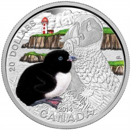 2014 Canadian $20 Baby Animals: Atlantic Puffin - 1 oz Fine Silver Coin