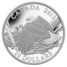 2013 Canadian $20 The Bald Eagle: Mother Protecting Her Eaglets - 1 oz Fine Silver Coin