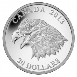 2013 Canadian $20 The Bald Eagle: Portrait of Power - 1 oz Fine Silver Coin