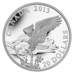 2013 Canadian $20 The Bald Eagle: Returning from the Hunt - 1 oz Fine Silver Coin
