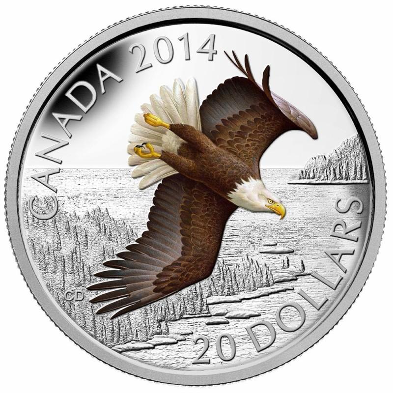 2014 Canadian 20 Soaring Bald Eagle 1 Oz Fine Silver Coin