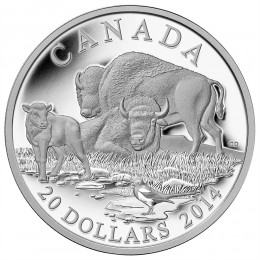 2014 Canadian $20 The Bison: A Family at Rest - 1 oz Fine Silver Coin