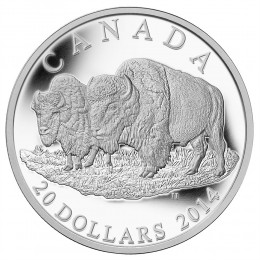 2014 Canadian $20 The Bison: The Bull and His Mate - 1 oz Fine Silver Coin
