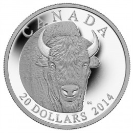 2014 Canadian $20 The Bison: A Portrait - 1 oz Fine Silver Coin