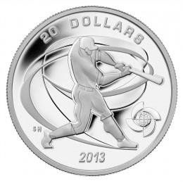 2013 Canadian $20 Celebrate Baseball: Hitter - 1 oz Fine Silver Coin