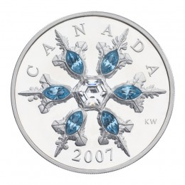 2007 Canada Sterling Silver $20 Coin - Crystal Series: Blue Crystal Snowflake
