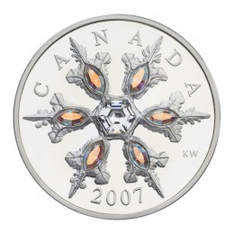 2007 Canada Sterling Silver $20 Coin - Crystal Series: Iridescent Crystal Snowflake