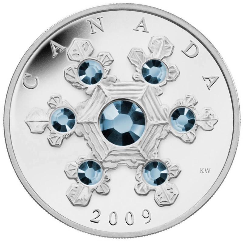 2009 Canadian 20 Blue Crystal Snowflake 1 Oz Fine Silver Coin