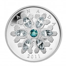 2011 Canadian $20 Swarovski® Crystal Snowflake Emerald Fine Silver Coin