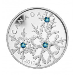 2011 Canada Fine Silver $20 Coin - Crystal Series: Montana Blue Small Crystal Snowflake
