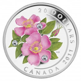 2011 Canada Fine Silver $20 Coin - Crystal Series: Wild Rose