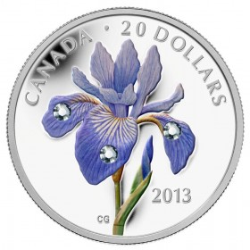 2013 Canadian $20 Blue Flag Iris with Swarovski® Crystal Dew Drops 1 oz Fine Silver Coloured Coin