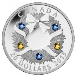 2013 Canada Fine Silver $20 Coin - Crystal Series: Holiday Wreath
