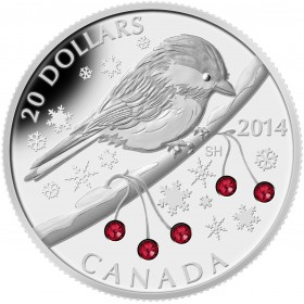2014 Canadian $20 Chickadee with Swarovski® Crystal Winter Berries 1 oz Fine Silver Coin