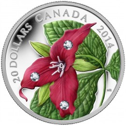 2014 Canada Fine Silver $20 Coin - Crystal Series: Red Trillium with Crystal Dew Drops