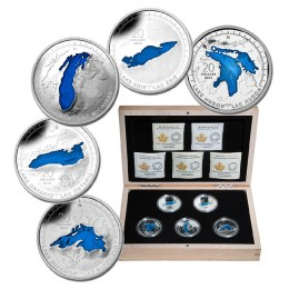 2014-2015 Canada $20 Silver - The Great Lakes 5-coin Set with Display Case