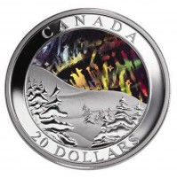 2004 Fine Silver 20 Dollar Coin - Natural Wonders: Northern Lights