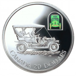 2001 Canadian $20 Transportation: The Russell Light Four Touring Car Sterling Silver Hologram Coin