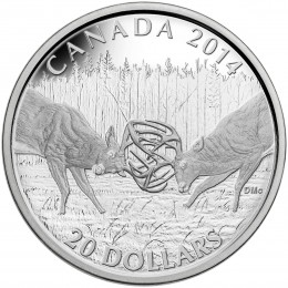 2014 Canadian $20 The White-tailed Deer: A Challenge - 1 oz Fine Silver Coin