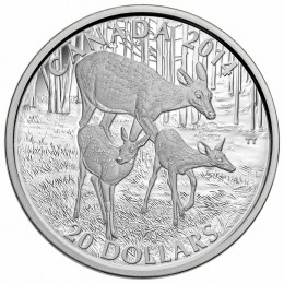 2014 Canadian $20 The White-tailed Deer: A Doe and Her Fawns - 1 oz Fine Silver Coin